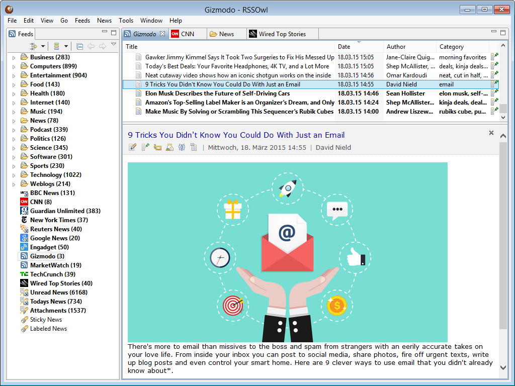 RSSOwl News Aggregator for Windows, Mac and Linux