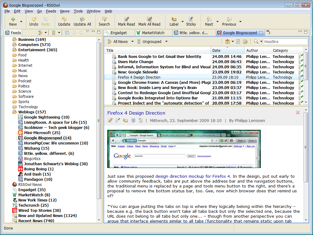 Windows 7 RSSOwl - Powerful RSS / RDF / Atom News Feed Reader 2.2.1 full